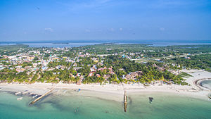 Isla Holbox - Holbox city aerial