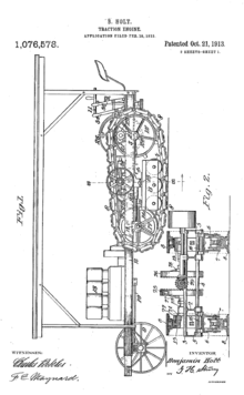 Simple, side-on drawing of a tractor similar to a Holt seventy-five, with the track arrangements drawn in greater detail.
