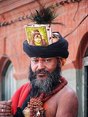 A hindu holy man in Kathmandu, Nepal. He seems...