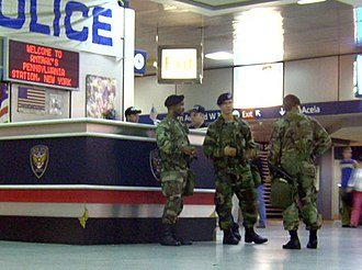 National Guard of the United States - Army National Guard soldiers at New York City's Penn Station in 2004.