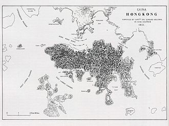 Edward Belcher - Belcher's map of Hong Kong, after surveying the island in 1841