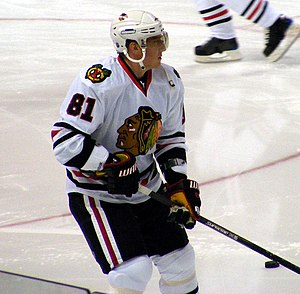 English: Marian Hossa during pre-warm-up at HP...
