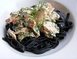 Black Tagliatelle with hot-smoked salmon.