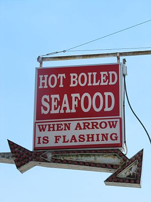 Seafood boil - Signage for hot boiled seafood in Madisonville, Louisiana