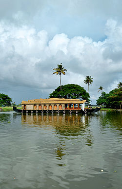A Kettu Vallam (house boat) in the Vembanad Lake.