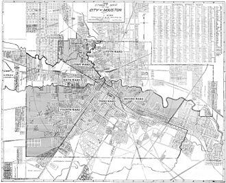 Third Ward, Houston - 1920 map of the six wards of Houston