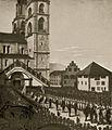 Hundert Jahre Bilder aus der Stadt Zürich - Einzug der eidg. Gesandten in die Grossmünsterkirche bei Eröffnung der Tagsatzung 1807.jpg