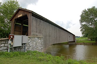 Hunsecker's Mill Covered Bridge - Image: Hunsecker's Mill Covered Bridge Three Quarters View 3008px