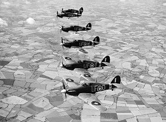 Josef Bryks - Hurricane Mk IIb fighters in formation over Essex in 1941
