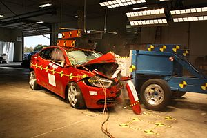Destructive testing - Oblique frontal crash test of a Dodge Dart.