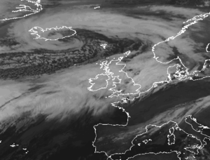 Storm Desmond - IR Satellite image of low Desmond centred close to Iceland