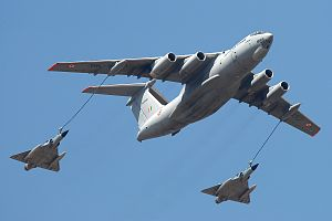 Ilyushin Il-78 - IAF's Ilyushin Il-78 provides mid-air refueling to two Mirage 2000 fighter planes.