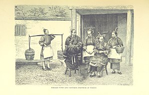 Hoklo people - Illustration of female types and costumes in Fujian, 1878.