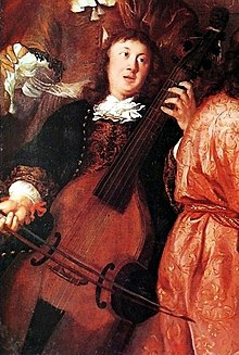 The only surviving portrait of Buxtehude, playing a viol, from A musical party by Johannes Voorhout, 1674
