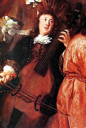 Dieterich Buxtehude - The only surviving portrait of Buxtehude, playing a viol, from A musical party by Johannes Voorhout (1674)
