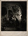In a dark room Tobit is cured of his blindness. Mezzotint wi Wellcome V0034459.jpg