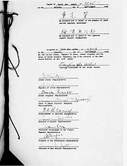 Signed page of the Instrument of Surrender.