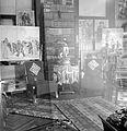 Interior, painting, carpet, lace, bookshelf, china, easel Fortepan 5127.jpg