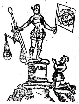 Irminsul - A late 16th century interpretation of an Irminsul bearing the cult image of a god of war and commerce, from Sebastian Münster's Cosmographia