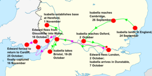 Invasion of England (1326) - Isabella's Campaign (green) and the Royalist retreat (pink)