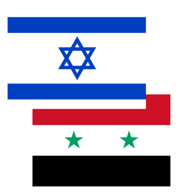 English: Israeli and Syrian flags