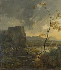 Italian landscape with ancient tempietto