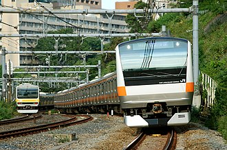 Chūō Main Line - Chūō Line E233 series train in Tokyo, June 2007
