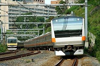 Chūō Main Line - Chūō Line E233 series train in Tokyo, June 2007