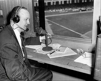 Jack Brickhouse - Brickhouse in the Comiskey Park press box in 1948 preparing to announce a White Sox game on television