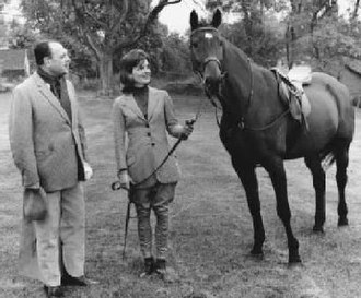 "Sardar - President Sardar Ayub Khan and First Lady Jacqueline Kennedy with the prized gelding ""Sardar""."
