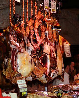 Jamón ibérico - Jamón ibérico ham inside the market