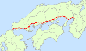 Japan National Route 2 - Image: Japan National Route 2 Map