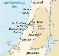 Jerusalem on the map of Israel