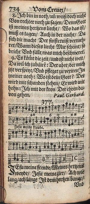 Jesu, meine Freude - The hymn in Johann Crüger's Praxis pietatis melica, 1653