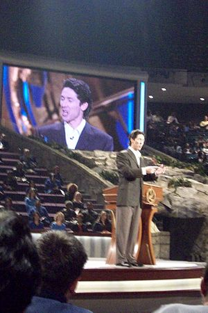 Televangelism - Televangelist Joel Osteen at Lakewood Church, a megachurch in Houston, Texas