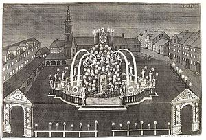 Girolamo Sartorio - Sartorio's design for the Neustädter Markt with the Neustädter Kirche and the fountain Parnaßbrunnen, steel engraving by Johann Anton de Klyher, 1727