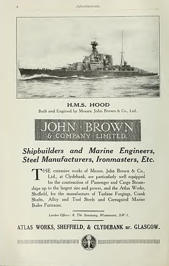 John Brown & Company - Image: John Brown advertisement Brasseys 1923