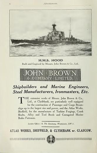 John Brown & Company - Image: John Brown advertisement Brasseys 1923