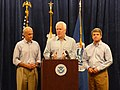 John Cornyn and Michael McCaul receive a briefing from Michael Chertoff on the status of Hurricane Ike recovery efforts.jpg