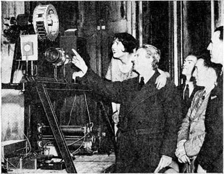 Baird demonstrating his mechanical television system in New York, 1931 John Logie Baird and mechanical television.jpg