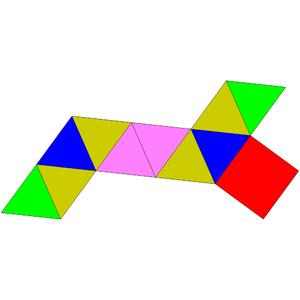 Biaugmented triangular prism - Image: Johnson solid 50 net