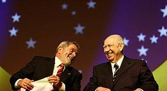 José Alencar - Alencar (right) with President Lula.