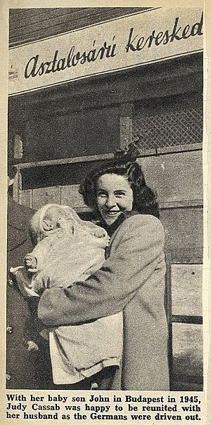 Judy Cassab - From Cassab's scrapbook deposited in the National Library of Australia: With her baby son John in Budapest in 1945 Judy Cassab was happy to be reunited with her husband as the Germans were driven out