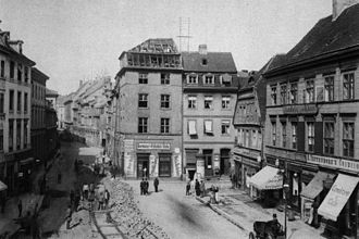 Fischerinsel - Köllnischer Fischmarkt, 1886; Breite Straße now meets Gertraudenstraße at this point