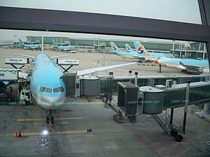 Incheon International Airport - Korean Air planes awaiting departure