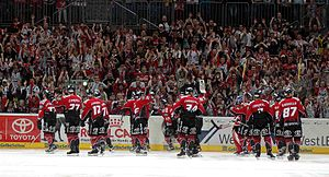Kölner Haie - The Sharks celebrate a victory over the Augsburger Panther (season 2005-06).