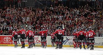 Kölner Haie - The Sharks celebrate a victory over the Augsburger Panther (season 2005–06).