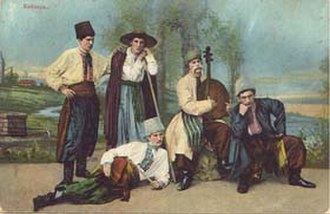 Hnat Khotkevych - H. Khotkevych playing bandura in a student play in 1899