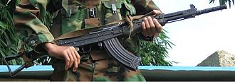 Variant of Type 81 assault rifle made by the Kachin Independence Army in Kachin State, Myanmar. Kachin K10 Rifle.jpg