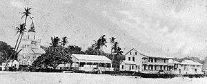 Mokuaikaua Church - Image: Kailua Kona Circa 1883